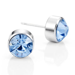 Royal Blue Unisex Stud Earrings Stainless Steel Silver Cubic Zirconia Set, 2pcs, (with Branded Gift Box)