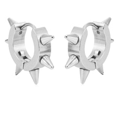 Cool Stainless Steel Men's Spike Punk Huggie Hoop Earrings (10mm, Silver)