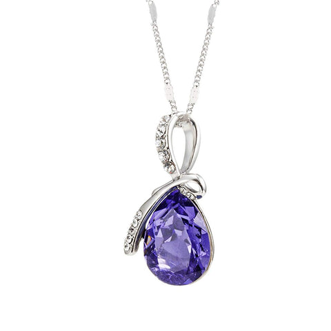 Eternal Love Teardrop Swarovski Elements Pendant Necklace - Violet Purple