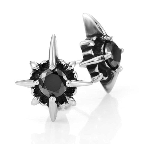 Beautiful Mens Star Stud Earrings Stainless Steel Silver, Black Cubic Zirconia (with Branded Gift Box)