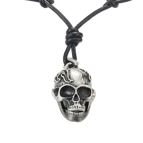 Men's Vintage Biker Style Skull Adjustable Black Genuine Leather Necklace