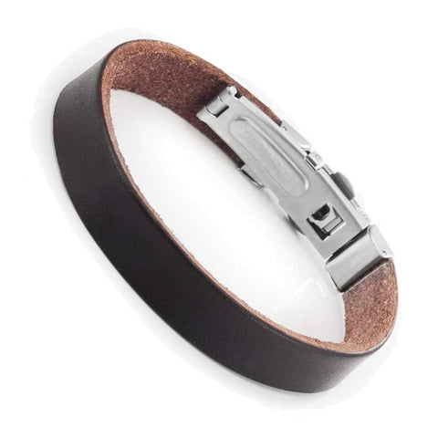 Unisex New York Style Genuine Leather Bracelet Cuff Wrist By Urban Jewelry (Brown or Black)