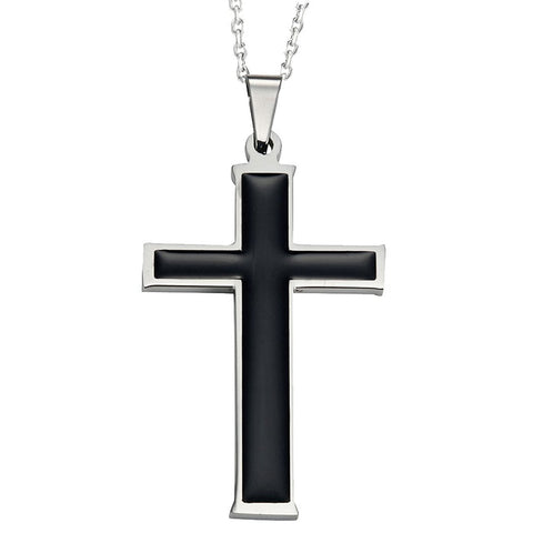 "Mens Polished Stainless Steel Black Silver Necklace Cross Pendant 21"" inches Chain"