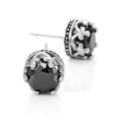 Vintage Royal Crown Mens Stud Earrings Stainless Steel Silver Black Cubic Zirconia