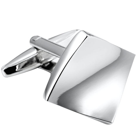 Unique Modern Art Bended Square Stainless Steel Men's Cufflinks (Silver Color)