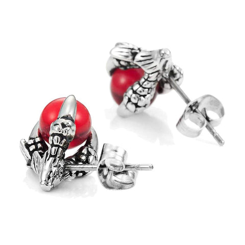 Vintage Stainless Steel Dragon Claw Mens Stud Earrings Set, 2pcs, Color Silver Red