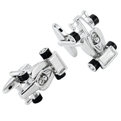 Urban Jewelry Formula One F1 Race Car Style Mens Stainless Steel Cufflinks (Black, Silver)