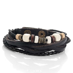 Urban Jewelry Leather Vintage Earth Brown and Blond Beaded Bracelet, 8.5
