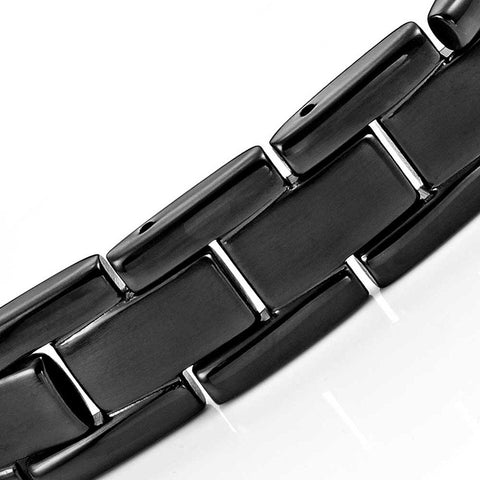 Urban Jewelry Men's Titanium Magnetic Link Bangle Bracelet 8.46 inch (Black)