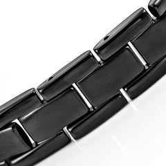 Elegant Mens Black Bracelet 316L Stainless Steel with Titanium Elements, Magnetic Therapy