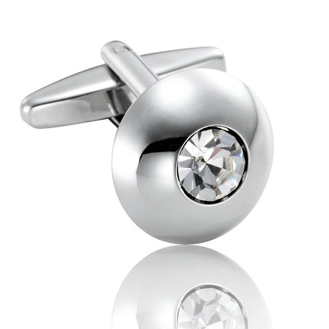 Round Men's Cufflinks Stainless Steel Cubic Zirconia Simple Circle Cuff Links