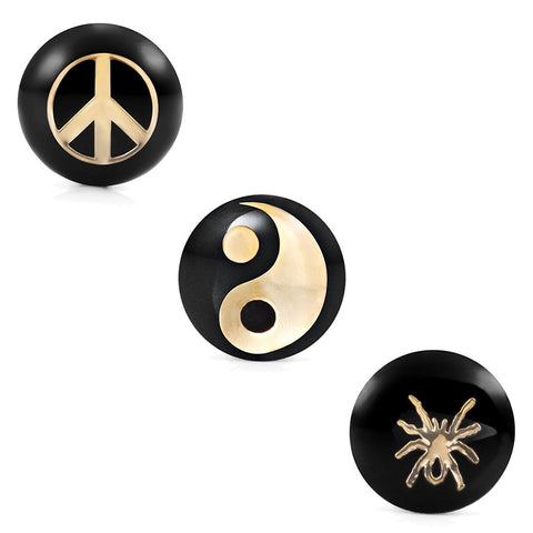 Mens Stainless Steel Stud Earrings 3 Pairs Set with 8mm Peace, Yin & Yang and Spider Symbol Designs
