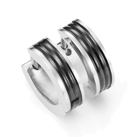 Mens Huggie Earrings in Stainless Steel Black Hoop Design 10mm (with Branded GiftBox)