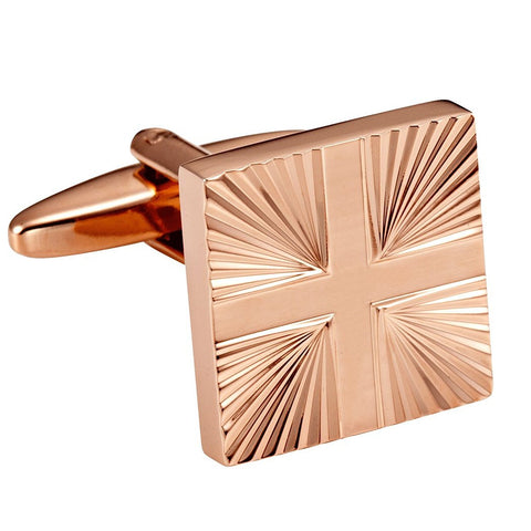 Urban Jewelry Shiny Bronze Toned Stainless Steel Mens Formal Cufflinks with Abstract Cross Pattern
