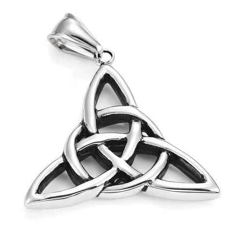"Vintage Stainless Steel Irish Triquetra Celtic Knot Amulet Pendant Necklace Black Silver Color, 21"" Chain"