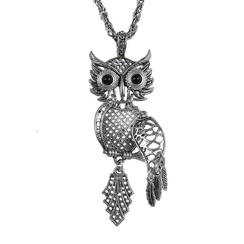 Retro Vintage Silver Antique Color Tone Owl Pendant Jewelry 23 Inch Necklace