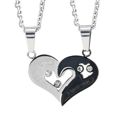 "2pcs His & Hers Couples Gift Heart Pendant Love Necklace Set for Lover Valentine 19"" & 21"" Chain, Men, womens"