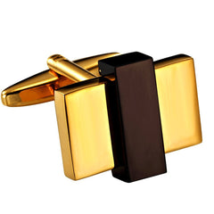 Urban Jewelry Unique Gold Toned Stainless Steel Rectangular Mens Fashion CuffLinks