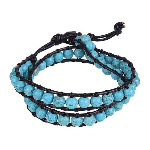 Trendy Women synthetic-turquoise Beads Wrap Genuine Leather Bracelet
