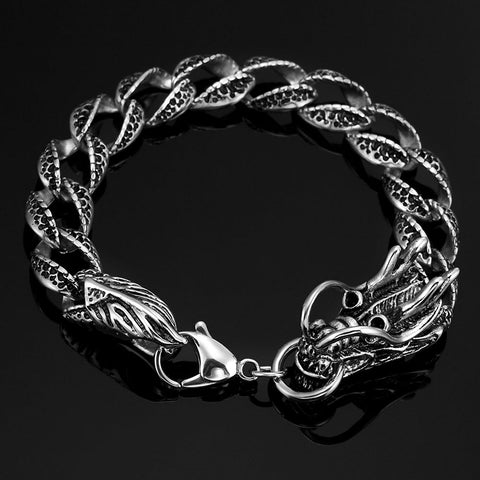 Vintage Style Dragon Link Stainless Steel Men Bracelet 8.2 Inch (Silver, Black)