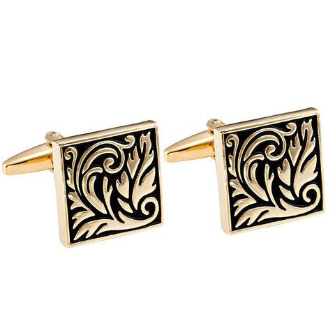 Urban Jewelry Impressive Egyptian Style Scroll Pattern Stainless Steel Cufflinks for Men (Gold, Black)