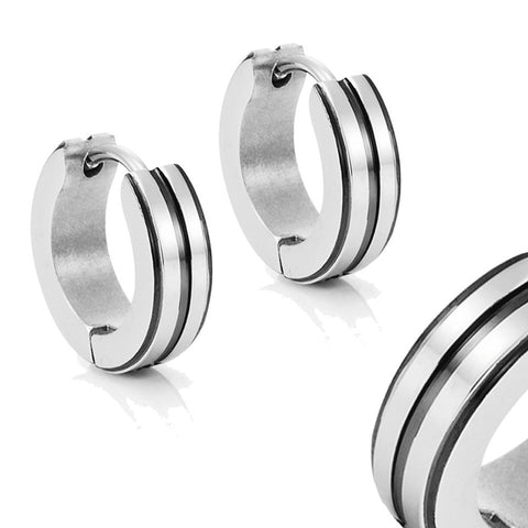 Men's 316L Stainless Steel Two Tone Hoop Huggie Earrings with Black IP 10mm