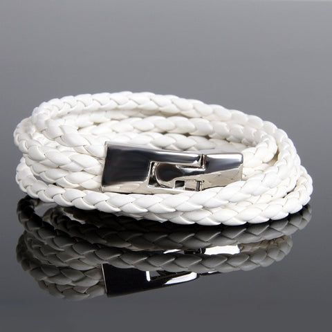 "Amazing Urban Jewelry Leather Wrap 8"" Bracelet for Men and Women (White)"