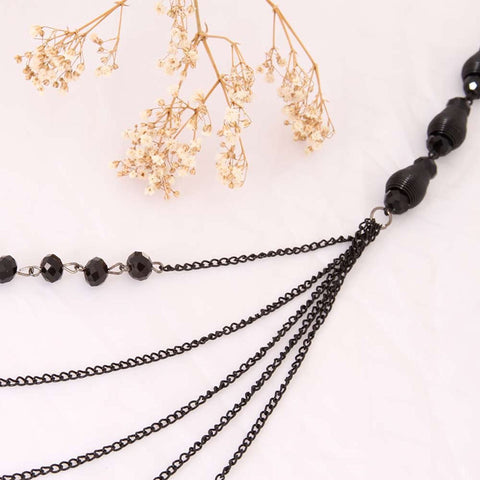 "Sparkling Women Black Beaded Necklace By Urban Jewelry (Long Necklace - 34-41"")"