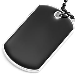 Urban Jewelry Powerful Army Style Double Dog Tag 2pcs Pendant Mens Necklace, Biker Adjustable 27 inch Black Chain