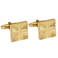 Shiny Gold Toned Stainless Steel Men's Formal Cufflinks with Abstract Cross Pattern