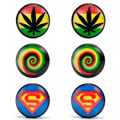 Mens Stainless Steel Stud Earrings 3 Pairs Set with Acrylic Hemp, Rasta Swirl and Superman Designs