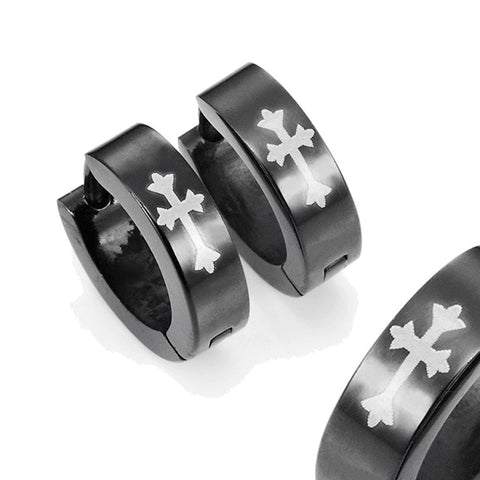 Stainless Steel Cross Design Huggie Hoop Earrings - Various Designs, Black, 10mm (With Branded Gift Box)