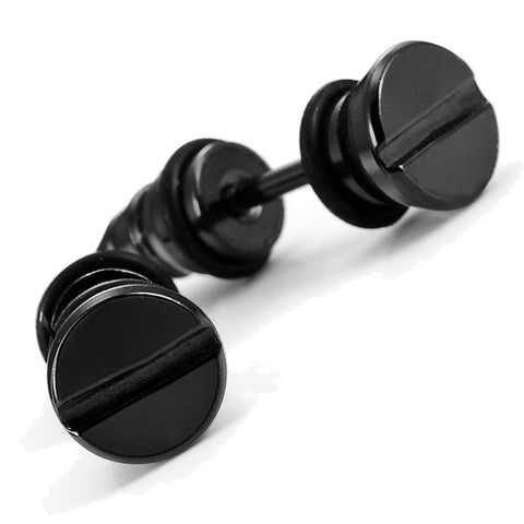 Cool Stainless Steel Men's Stud Screw Black Earrings for men, 7mm Diameter (with Branded Gift Box)