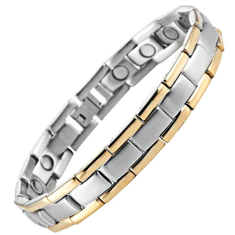 Men's Golf Link Bracelet 316L Stainless Steel Magnetic Therapy, Color Gold, Silver