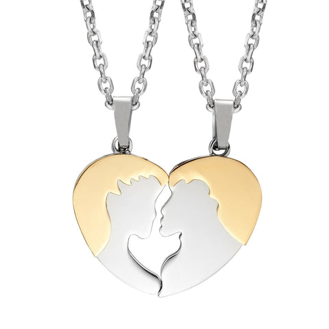 "2pcs His & Hers Kiss Heart Couples Pendant Necklace Set with 19"" & 21"" Chain (Gold & Silver Tone)"