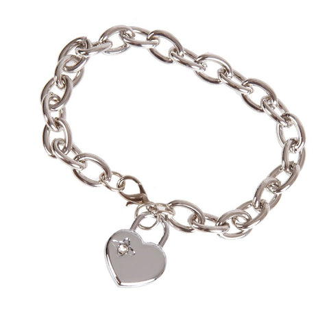 Charm Womens Heart Stainless Steel Chain Bracelet 8""