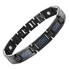 Mens Link Black Bracelet Stainless Steel -Titanium Elements - Blue Carbon Fiber Insets (Magnetic Therapy)