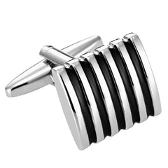 Black Enamel Striped on Stainless Steel Cufflinks for Men