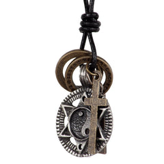 "Vintage Cross Necklace Yin Yang Rings Pendant with 28"" Resizable Leather Chain for Mens"