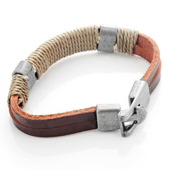 Dark Brown Leather Wound-around Nature Thread Bracelet for Him and Her, Unisex, Leather, 8