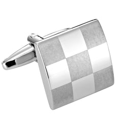 Elegant Laser Engraved Checkered Cufflinks for Men with Gift Box
