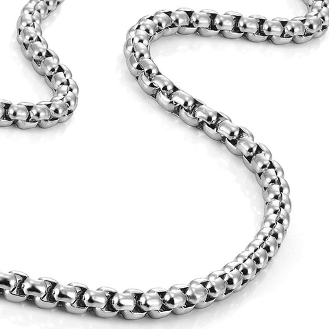 "Stainless Steel Men's Necklace Box Chain Jewelry (Silver, 4.5mm, 20"")"