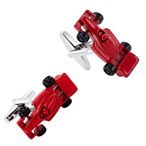 Urban Jewelry Formula One F1 Race Car Style Mens Stainless Steel Red Cufflinks