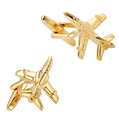Golden Toned Stainless Steel Cufflinks Jet Airplane Cuff Links For Men