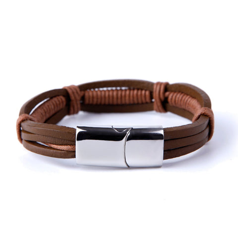 Urban Jewelry Stunning Brown Cuff Leather Bracelet for Men with Elegant Stainless Steel Clasp