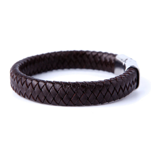 Urban Jewelry Men's Deep Brown Braided Genuine Leather Cuff Bracelet with Elegant 316L Stainless Steel Clasp