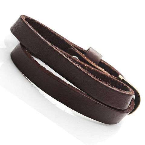 Stunning Dark Brown Leather Wrap Around Bracelet for Him and Her, Unisex (Resizable)