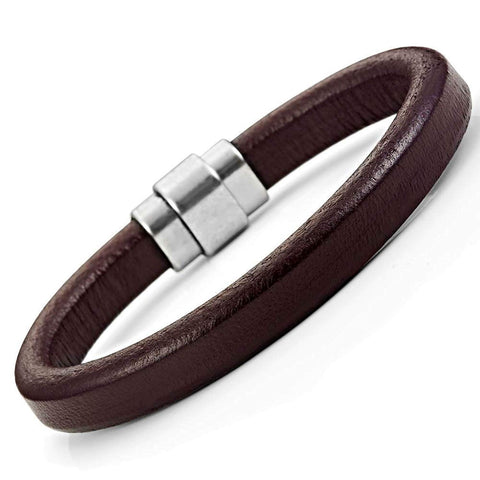 Classic Genuine Leather Cuff Bracelets Stainless Steel Clasp 8.6""
