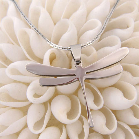 Women Special Dragonfly Shiny Stainless Steel Pendant Chain Necklace 20""