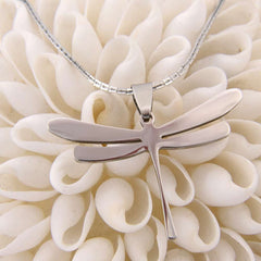 Women Special Dragonfly Shiny Stainless Steel Pendant Chain Necklace 20